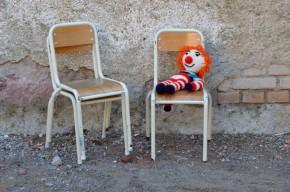 Chaise enfant petite métal tubulaire et contreplaqué chambre enfant vintage