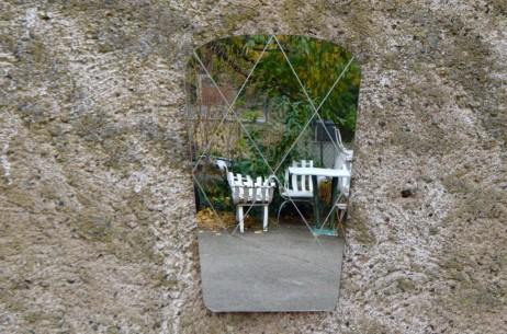 Petit miroir rétroviseur design années 50 vintage rétro antic french mirror free design fifties midcentury  details Belle Lurette