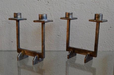Paire de chandelier candélabres bougeoirs brutaliste constructiviste en métal