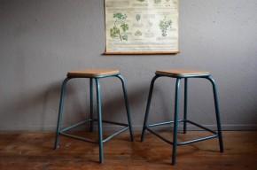 Tabouret industriel lot paire tubulaire vintage anciens collectivité restaurant atelier