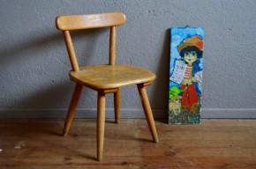 Petite chaise enfant années soixante style Baumann en bois massif design organique ancienne occasion kidchair