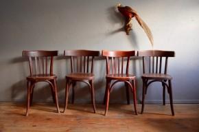 Chaises de cuisine ou de salon anciennes vintage bistrot Fischel série lot de 4 six signées