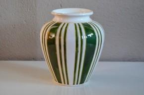 Vase années 60 forme libre céramique bicolore ancien vert blanc ancien