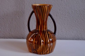 Vase années 60 forme libre lobé zébré marron noir vintage Faïence de Sarreguemines Digoin vintage