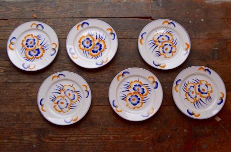 Assiettes plates série lot de 6 vintage art déco fleurs bicolore  Faïencerie de Sarreguemines Alsace