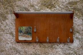 Porte-manteaux patères porte-chapeaux miroir bois et chrome esprit art déco années cinquante vintage train