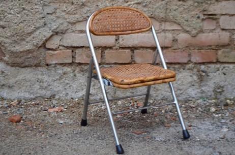 Chaise enfant pliable en cannée et bambou métal chromé style design ancien bauhaus petite