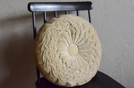 Coussin vintage rond rosace gris french décoration vintage banc fauteuil canapé fauteuil handmade velours