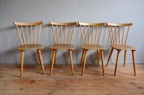 Chaises bistrot style années cinquante modernistes scandinaves vintage pieds compas bois clair lot série de 4