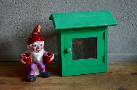 Boite à lettre vintage fabrication artisanale verte vintage bohème et patinée
