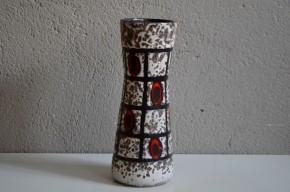 Vase années 60 allemand signé W germany rouge blanc noir fat lava forme libre diabolo