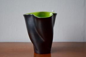 Vase Elchinger forme libre années 50 vintage rétro  noir  Vert bicolore trilobé