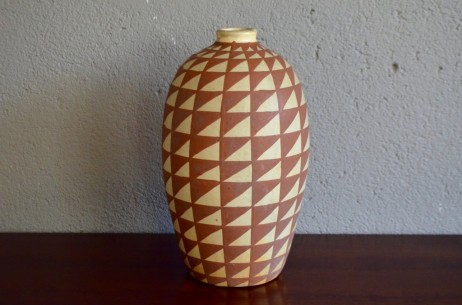 Jean Garillon important vase art déco courant moderne céramique Elchinger à motifs géométriques