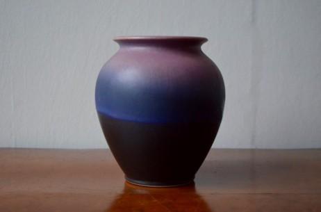 Vase années 60 allemand signé Bay W germany numéroté émail bicolore violet 650 14