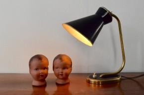 Lampe cocotte de bureau de table noir et or à poser applique modulable vintage années 1950 moderniste noire dorée