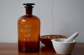 Fiole flacon en verre brun laboratoire chimie pharmacie vintage ancien acide sulfurique