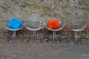 Chaises ou fauteuil Pan Am Panam Gastone Rinaldi édition Rima 1970 design Italien Acier Chrome moderniste