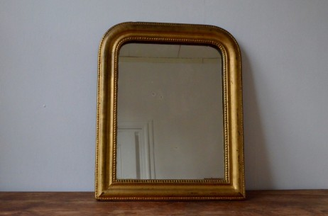Miroir Louis Philippe doré à la feuille stuc or rétro bohème  patiné  brocante french ancien