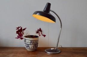 Lampe de bureau orientable space age années 1960 verte chrome métal vintage
