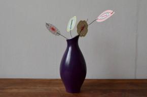 Vase Villeroy et Boch Septfontaine bicolore violet jaune vintage signé forme libre céramique