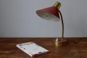 Lampe cocotte de bureau articulée rouge midcentury design moderniste 1950  orientable
