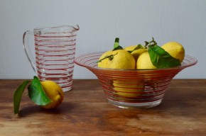Saladier et pichet en verre Holmegaard Danemark Jacob Bang Denmark design verrerie art Copenhague années 40