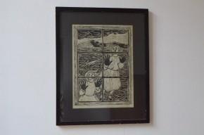 Lithographie de Babu, en très bel état. Cadre en bois noir.