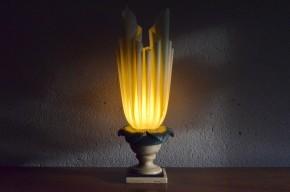 Lampe  Georgia Jacob design travail français années 70 drapé lampe de table pied colonne stuc