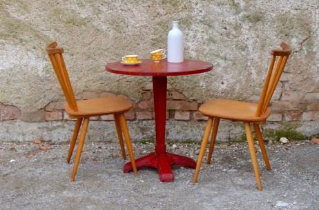 Table pied central en fonte style bistrot art déco rouge 1930 vintage bois et métal