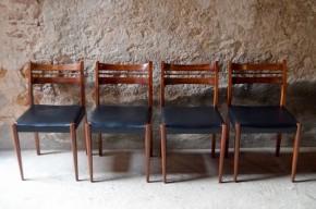 Chaises scandinaves teck et skaï simili noir classique design nordique meuble bois anciennes années soixante