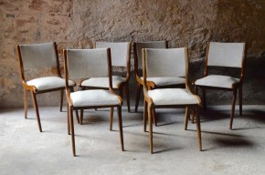 Série de chaises années 60 pieds compas skaï gris vintage rétro 6 set of 6 chairs sixties french furniture scandinave scandinavian chairs vinyle pop