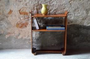 Petit meuble art déco Étagère Selette meuble TV 1930  bois métal pieds boule ancienne