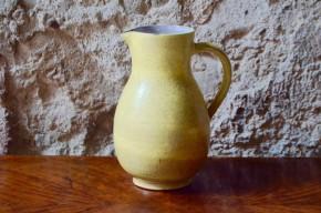 Vase Pichet  Elchinger poterie Alsace  bicolore moutarde tacheté
