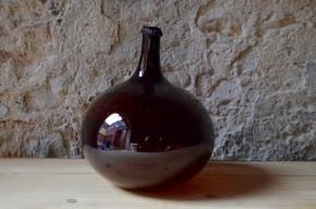Bonbonne Dame Jeanne flacon verre soufflé 19e siècle ancienne verre brun ambré french wine déco bistrot handmade