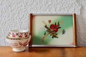 Plateau art déco chrome métal miroir vintage style design ancien art de la table décor fleur bouquet