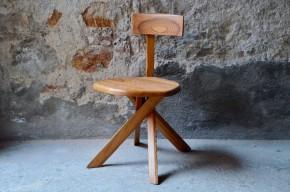 Chaise S34 Pierre Chapo orme massif design français brutaliste rustique minimaliste french furniture sixties wooden chair