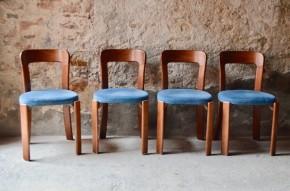Série de chaises design Bruno Rey design suisse Dietiker années 60 sixties futuriste vintage rétro sixties bleu canard set of swiss chairs