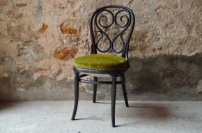 Chaise Thonet N°4 café Daum années 1870 vienne bois courbé tapissée velours