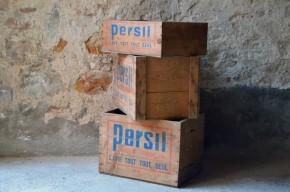 Caisses en bois publicitaires tiroirs d'atelier indus brocante épicerie vintage rétro  Persil Rouge et bleu
