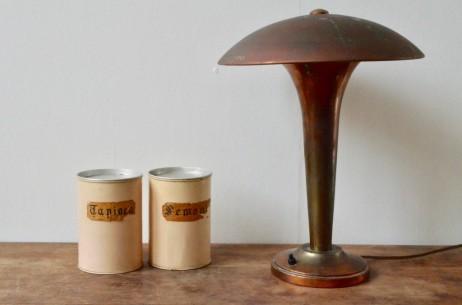 Lampe de table ou de bureau art déco dorée forme champignon meubles levitan années cinquante