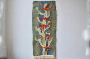 Tenture murale tissage panneau de laine scandinave bohème craft tapisserie murale fait main antic wall carpet wool deco bohemian deco seventies vintage rétro