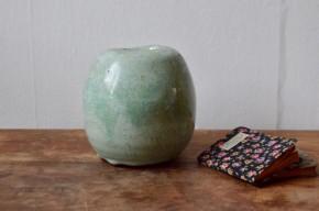 Vase brutaliste signé gris vert céramique artistique  numéroté