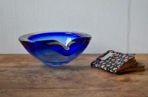 Cendrier pâte de verre bleu de murano venini forme libre design italien 1960