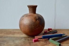 Vase céramique brutaliste sphérique email grès de grand feu art