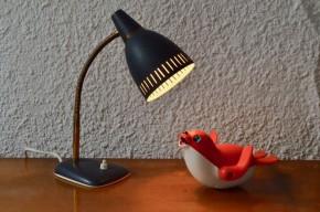 Lampe de bureau années soixante gris noir et doré vintage abat jour ajouré ancienne vintage