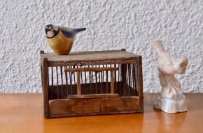 Cage à oiseaux vintage ancienne bois et métal bohème rustique campagne