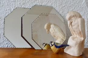 Trio de miroirs biseautés octogonaux vintage rétro bohème années 50 Paris Belle époque art déco