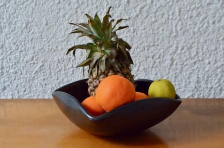Vase céramique coupe vasque Elchinger noire mat forme libre grands céramistes  français des années cinquante