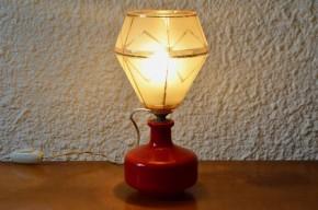 Lampe de chevet de table années cinquante colorée vintage pop rouge doré