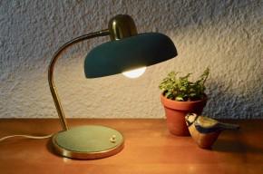 Lampe cocotte de bureau articulée verte et dorée midcentury design moderniste 1950  orientable